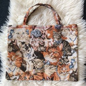 Vintage handmade cat tapestry tote bag purse